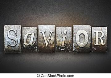 The word SAVIOR written in vintage letterpress type