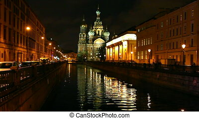 Savior on Blood - Christ the Savior Cathedral in St. Petersburg at night, timelapse