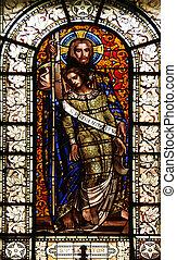 Savior, stained glass