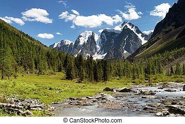 savlo szavlo valley and rock face - altai mountains russia