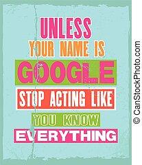 savoir, aimer, citation, inspirer, google, vecteur, texte, ...
