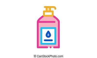 savon, animation, liquide, icône, bouteille