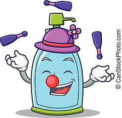 savon, caractère, dessin animé, liquide, jonglerie