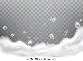 savon, mousse, bain, réaliste, vecteur, mousse de savon, ou