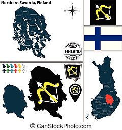 savonia, finlandia, północny, mapa