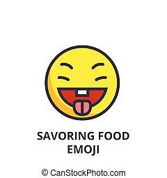 savoring food emoji vector line icon, sign, illustration on...