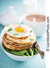 Savory cheese pancakes with egg - Savory cheddar cheese ...
