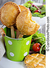 Savory hand pies with chicken and vegetables