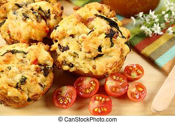 Savory Muffins - Fresh baked savory muffins with cherry...