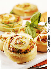 Savory pastries - Rolls with herb and cheese filling