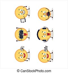 Savory pie cartoon character are playing games with various ...