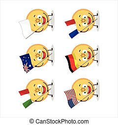 Savory pie cartoon character bring the flags of various ...