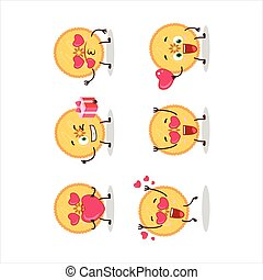 Savory pie cartoon character with love cute emoticon.Vector ...
