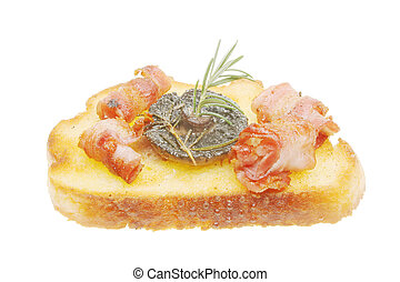 Savory snack of fried mushroom and pancetta ham on a crouton