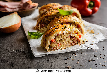 Savory strudel with sour cabbage, bacon and onion - Savory...