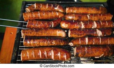 savoureux, barbecue, saucisses, grillade, gril
