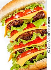 savoureux, blanc, hamburger, appétissant