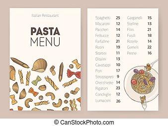 savoureux, délicieux, café, meals., différent, menu, dîner, gabarit, plaque, text., pâtes, spaghetti, types, illustration., restaurant, liste, traditionnel, cuit, vecteur, endroit, cru, ou, italien
