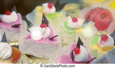 savoureux, gâteaux, closeup, storefront