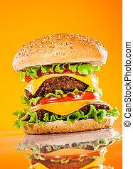 savoureux, hamburger, jaune, appétissant