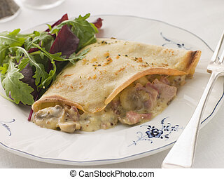 Savoury Pancake filled with Ham Cheese and Mushrooms with...