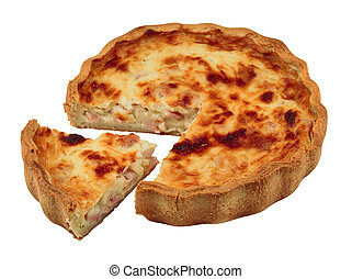 Quiche with a portion cut out isolated against a white background