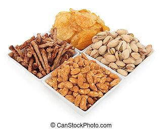 Savoury Snack Food - Potato crisps, pistachio nuts, roasted...
