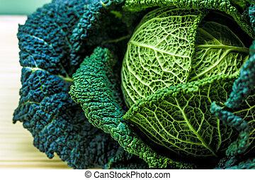Savoy cabbage in the kitchen, excellent vegetables.