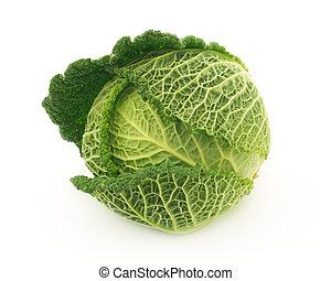 Savoy cabbage on white