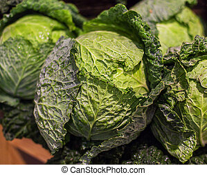 Savoy cabbage super food on market stall at organic farmers ...
