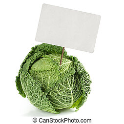 savoy cabbage with price tag isolated on white