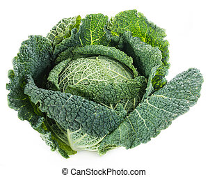 Savoy (isolated on white) - Savoy Cabbage (close-up shot) ...