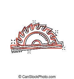 Saw blade icon in comic style. Circular machine cartoon ...