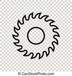 Saw blade icon in flat style. Circular machine vector ...