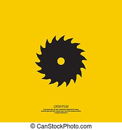 Saw blade icon. - Saw blade vector icon on yellow background