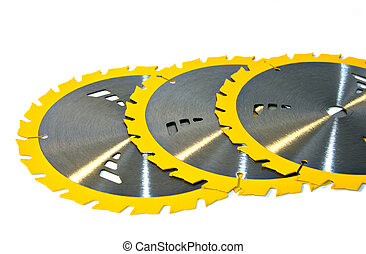 An aragment of three saw blades on a white background