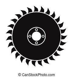 Saw disc icon in black style isolated on white background. Sawmill and timber symbol stock vector illustration.