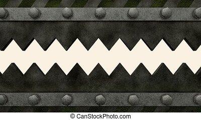 Saw gate - Dangerous saw gate. With alpha matte.