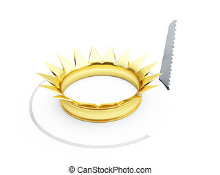 saw gold crown 3D illustrationon a white background
