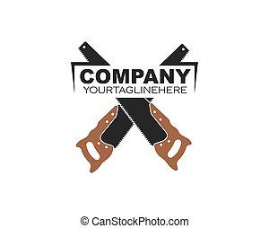 saw hand logo icon vector illustration