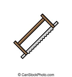 Saw illustration in flat style. tool icon for design and web