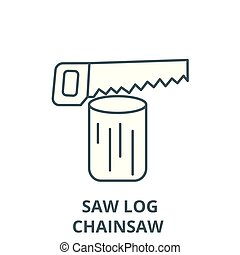 Saw log,chainsaw  vector line icon, linear concept, outline sign, symbol