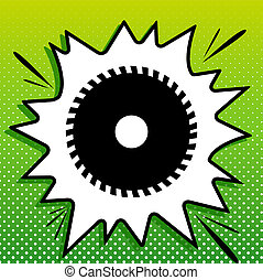 Saw sign. Black Icon on white popart Splash at green background with white spots. Illustration.
