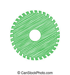 Saw sign. Green scribble Icon with solid contour on white background. Illustration.