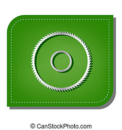 Saw sign. Silver gradient line icon with dark green shadow at ecological patched green leaf. Illustration.