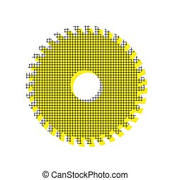 Saw sign. Vector. Yellow icon with square pattern duplicate at w