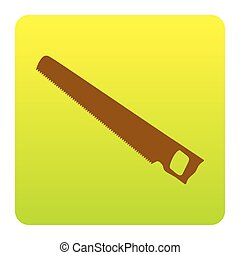 Saw simple sign. Vector. Brown icon at green-yellow gradient square with rounded corners on white background. Isolated.
