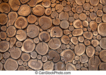 Sawed wood background. Decor of wall