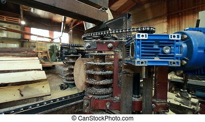 Sawing logs at sawmill. View of workflow, close-up