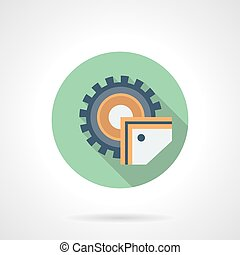 Sawing machine flat green round vector icon